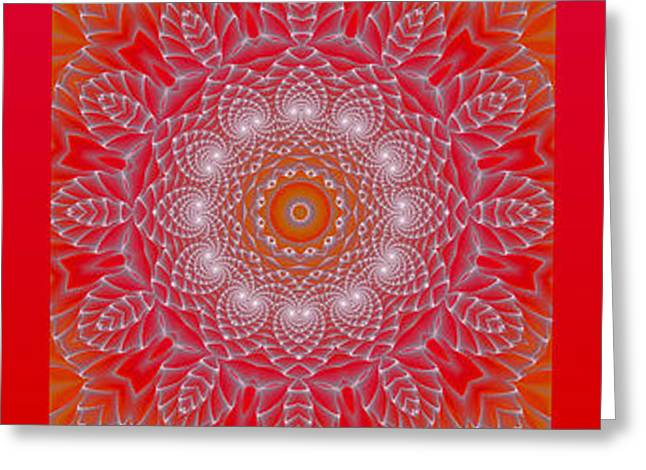 Red Space Flower Greeting Card by Hanza Turgul