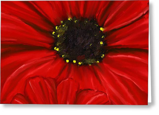 Close Up Paintings Greeting Cards - Red Spectacular- Red Gerbera Daisy Painting Greeting Card by Lourry Legarde