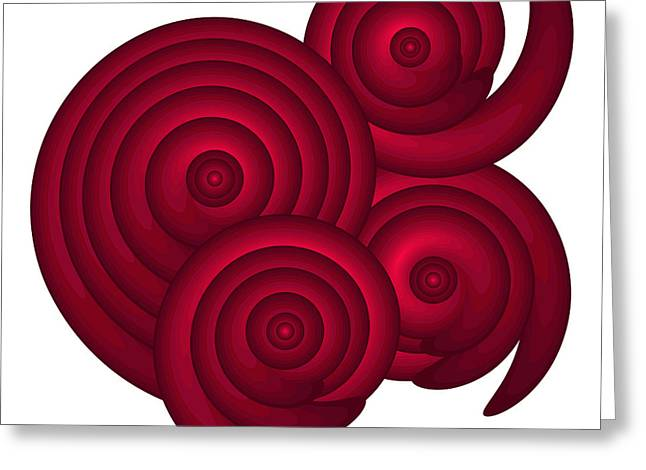 Regular Greeting Cards - Red Spirals Greeting Card by Frank Tschakert