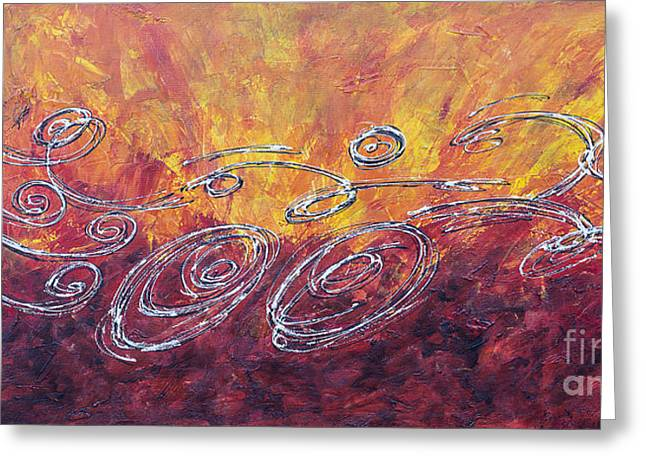 Ironman Paintings Greeting Cards - Red Splash Triathlon Sequence II Greeting Card by Alejandro Maldonado