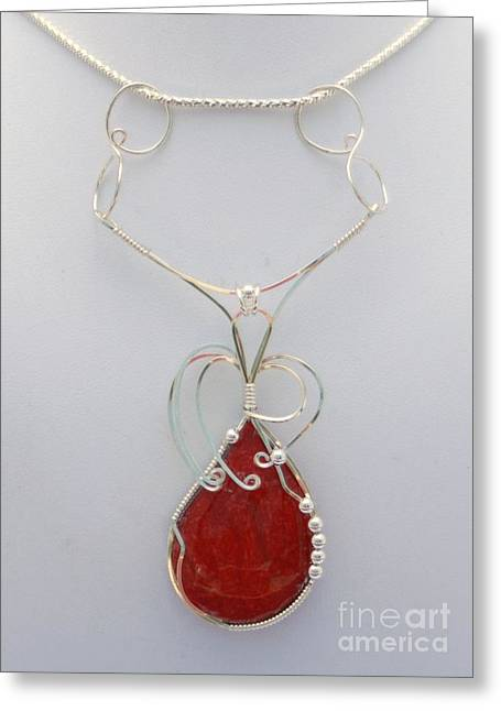 Coral Jewelry Greeting Cards - Red Sponge Coral Pendant in Sterling Greeting Card by Holly Chapman