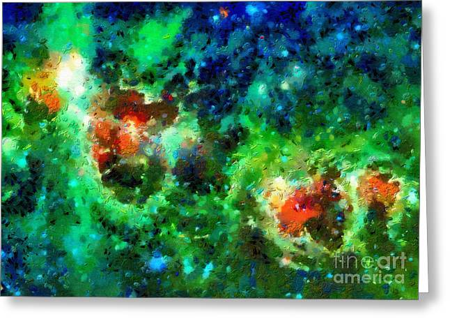 Outer Space Paintings Greeting Cards - Red spots in a green clouds Greeting Card by Magomed Magomedagaev