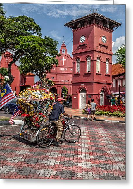 Historical Buildings Digital Art Greeting Cards - Red Square Malacca Greeting Card by Adrian Evans