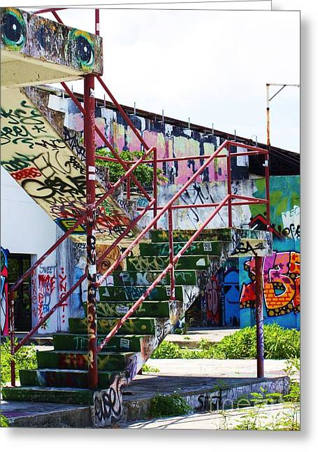 Miami Heat Greeting Cards - Red Stair Rails Greeting Card by Chuck  Hicks