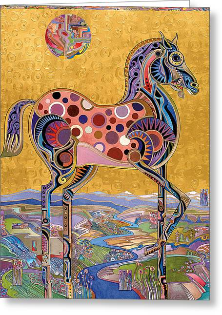 Imagined Landscape Greeting Cards - Red Stallion Overlook Greeting Card by Bob Coonts