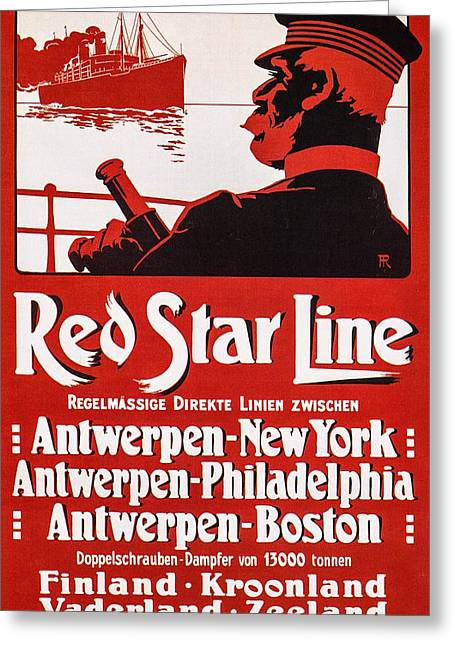 1907 Digital Greeting Cards - Red Star Line--the Zeeland Greeting Card by Unknown