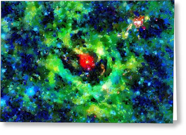 Outer Space Paintings Greeting Cards - Red star Greeting Card by Magomed Magomedagaev