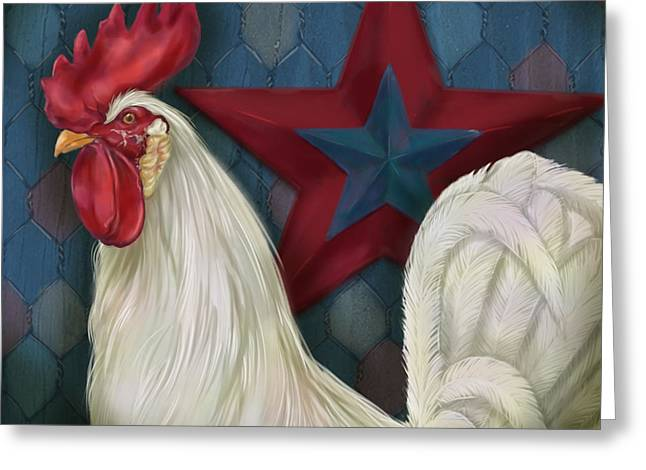 Farm Mixed Media Greeting Cards - Red Star Rooster Greeting Card by Shari Warren