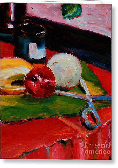 Cloth Greeting Cards - Red Still Life Greeting Card by Janet Felts