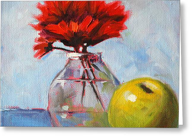 Indoor Still Life Paintings Greeting Cards - Red Still  Greeting Card by Nancy Merkle