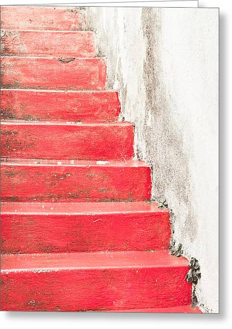 High Stepping Greeting Cards - Red stone steps Greeting Card by Tom Gowanlock