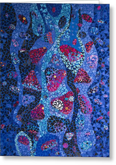 Stone Tapestries - Textiles Greeting Cards - Red Stones in the Fountain Greeting Card by Tanya Mayer