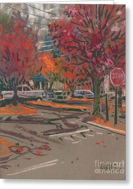 Autumn Pastels Greeting Cards - Red Stop Greeting Card by Donald Maier