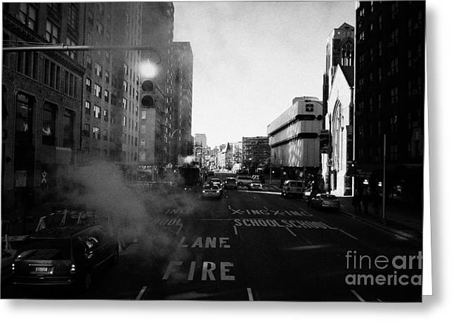 Manhatan Greeting Cards - Red Stop Light Fire Lane Steam Pipe Venting 7th Avenue 14th Street Greenwich Village New York City Greeting Card by Joe Fox