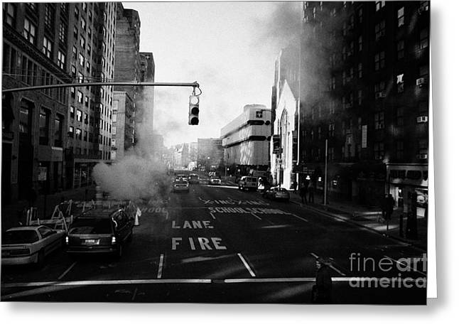 Manhatan Greeting Cards - Red Stop Light Fire Lane Steam Pipe Venting 7th Avenue And 14th Street Greenwich Village New York Greeting Card by Joe Fox