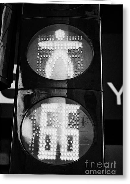 Red Stop Pedestrian Crossing Traffic Lights Countdown Clock Crossing Road In Andorra La Vella Andorr Greeting Card by Joe Fox