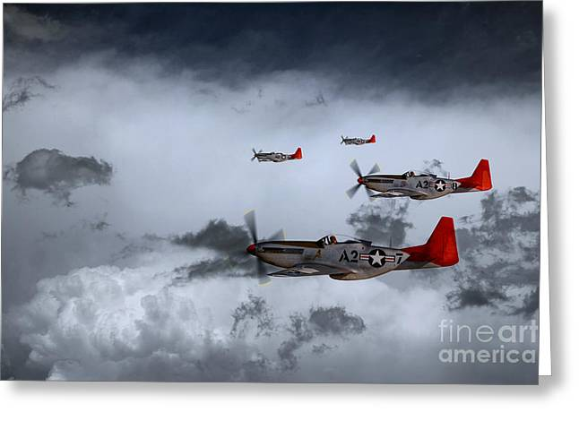 Tuskegee Airman Greeting Cards - Red Storm Greeting Card by J Biggadike