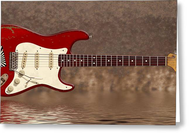 Wb Johnston Greeting Cards - Red Strat 3 Greeting Card by WB Johnston