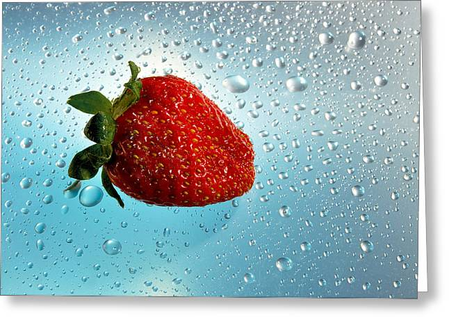 Reflection Harvest Greeting Cards - Red strawberries   Greeting Card by   larisa Fedotova