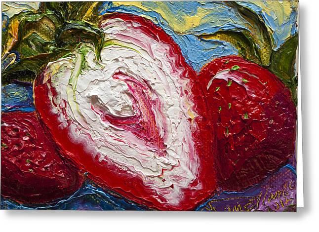 Red Strawberries Greeting Card by Paris Wyatt Llanso