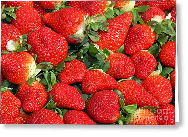 Food Safe Greeting Cards - Red Strawberry Cups For Sale At Vegetable Market Greeting Card by Federico Candoni