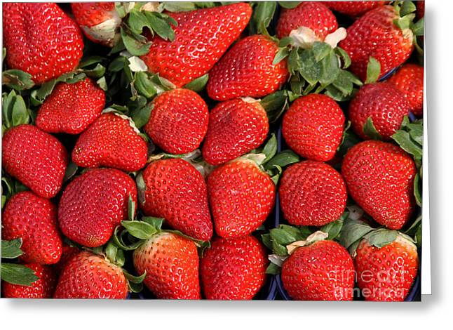 Food Safe Greeting Cards - red Strawberry to the delight of gourmands Greeting Card by Federico Candoni