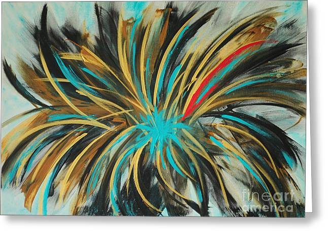 Daughter Gift Paintings Greeting Cards - Red Streak Greeting Card by Paulette B Wright