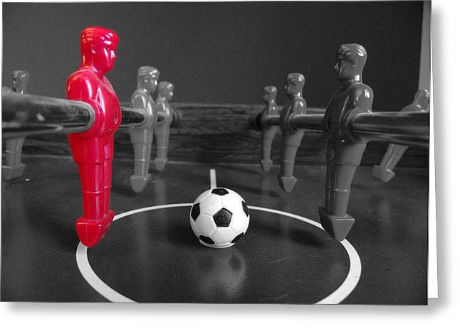 Sports Face Off Greeting Cards - Red Striker Greeting Card by Richard Reeve