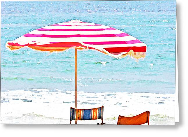 Abstract Style Greeting Cards - Red Striped Umbrella Greeting Card by Lifestyle Photos By Tara