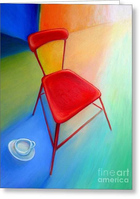Frederick Luff Greeting Cards - Red Studio Chair Greeting Card by Frederick  Luff