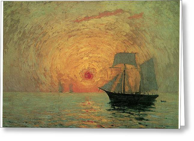 Sailboats In Water Greeting Cards - Red Sun Greeting Card by Maxime Maufra