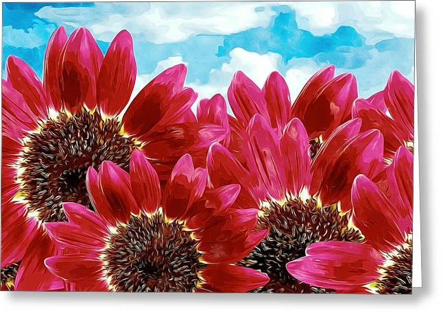 Organic Greeting Cards - Red Sunflower Greeting Card by Lanjee Chee