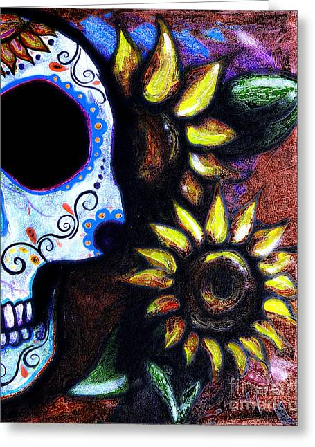 Marigold Festival Greeting Cards - Red Sunflower Skull Greeting Card by Lovejoy Creations