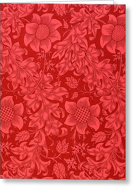 Red Wallpaper Greeting Cards - Red Sunflower Wallpaper Design, 1879 Greeting Card by William Morris