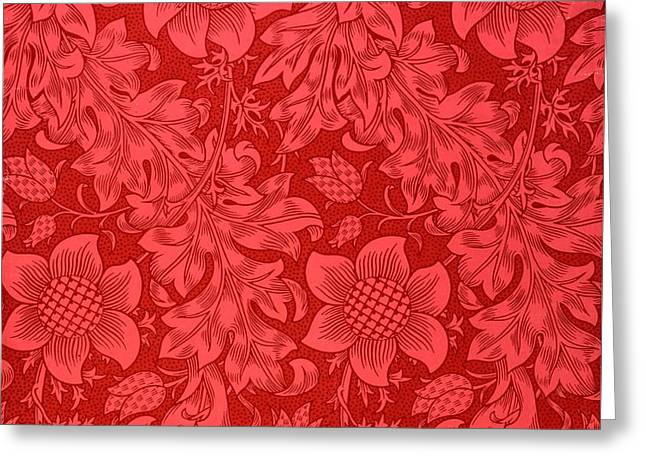 Red Sunflower Wallpaper Design, 1879 Greeting Card by William Morris