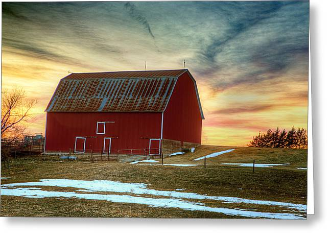 Farming Barns Greeting Cards - Red Sunrise Greeting Card by Thomas Zimmerman