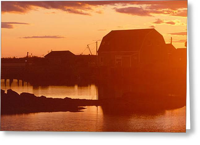 Ocean Shore Greeting Cards - Red Sunset At Lobster Village Greeting Card by Panoramic Images