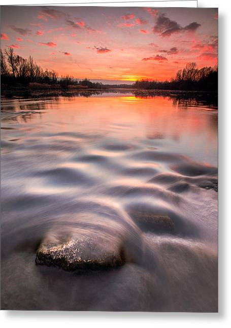Landscape Photograph Greeting Cards - Red sunset Greeting Card by Davorin Mance