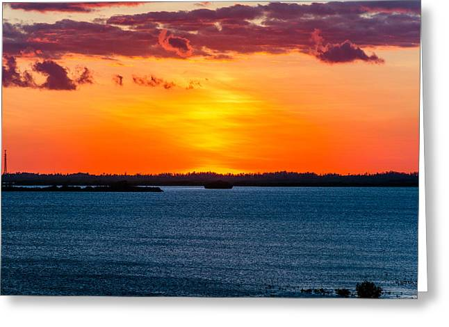 Red Sunset Greeting Card by Manuel Lopez