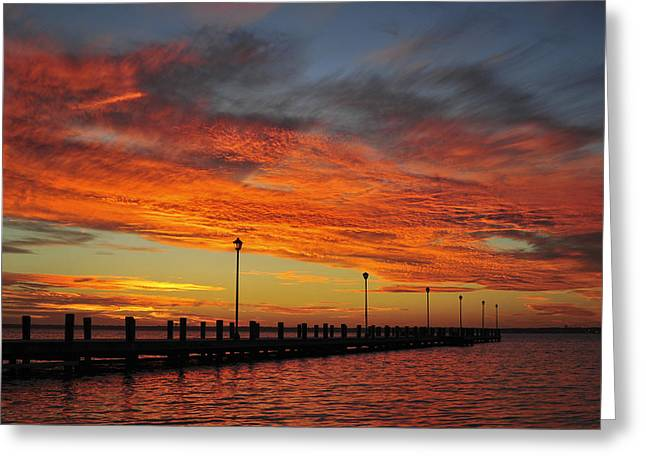 Bathroom Prints Greeting Cards - Red Sunset Pier Seaside NJ Greeting Card by Terry DeLuco