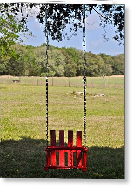 Hallmark Greeting Cards - The Red Swing Greeting Card by Kristina Deane