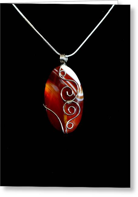 Wirework Jewelry Greeting Cards - Red Swirl Agate Greeting Card by Jan Brieger-Scranton