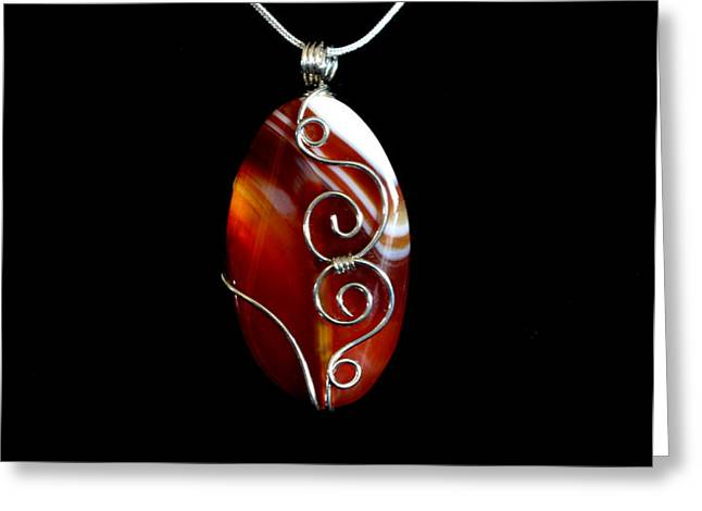 Red Swirl Agate Greeting Card by Jan Brieger-Scranton