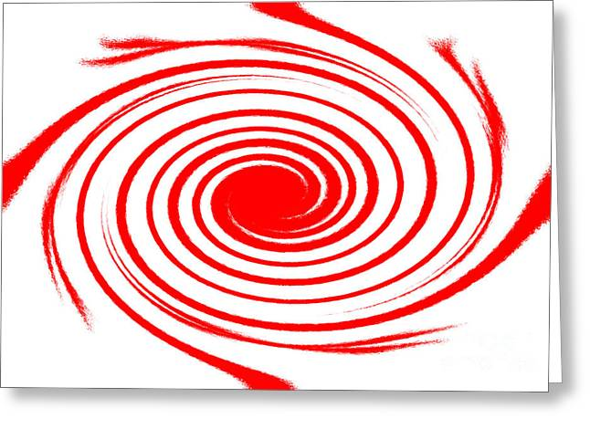 Spiral Tapestries - Textiles Greeting Cards - Red swirl war  Greeting Card by Lali Kacharava