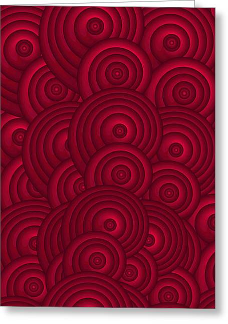 Oversized Art Greeting Cards - Red Swirls Greeting Card by Frank Tschakert