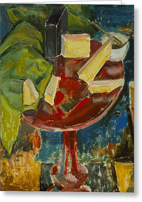 Block Print Paintings Greeting Cards - Red Table Top Still Life Greeting Card by Alfred Henry Maurer
