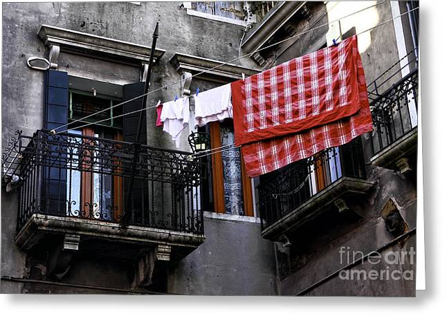 Hanging Laundry Greeting Cards - Red Tablecloth in Venice Greeting Card by John Rizzuto