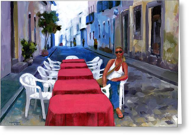 Brasil Greeting Cards - Red Tables in the Pelourinho Greeting Card by Douglas Simonson