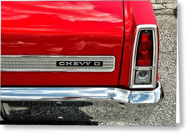 Red Tail Chevy II Greeting Card by Allen Carroll