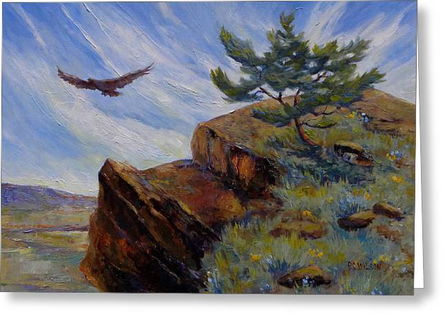 Sage Brush Greeting Cards - Red Tail Hawk Greeting Card by Peggy Wilson